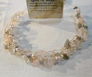 Collier art. Quartz rose