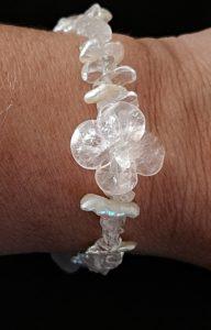 Bracelet Cristal de roche quartz rose, Perles d'eau douce