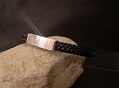 Bracelet homme cuir acier bijoux
