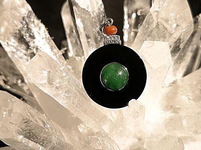 Onyx - jade - cornaline - pendentif argent