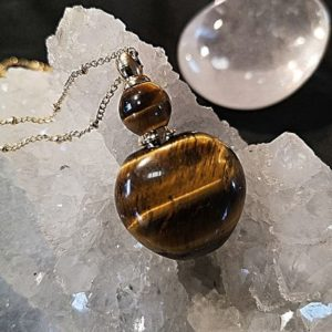 Flacon bijoux en œil de tigre pierre naturelle