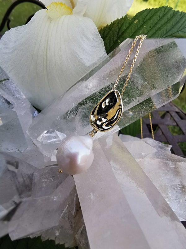 Perle d eau douce collier chaîne vermeil