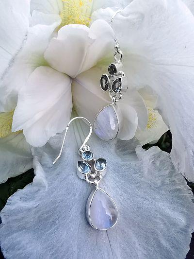 Péristerite et Topaze bleue pendentif argent