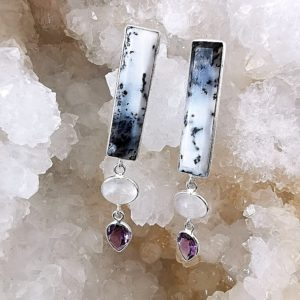 Opale dendritique - Merlinite - péristerite - améthyste pendentif