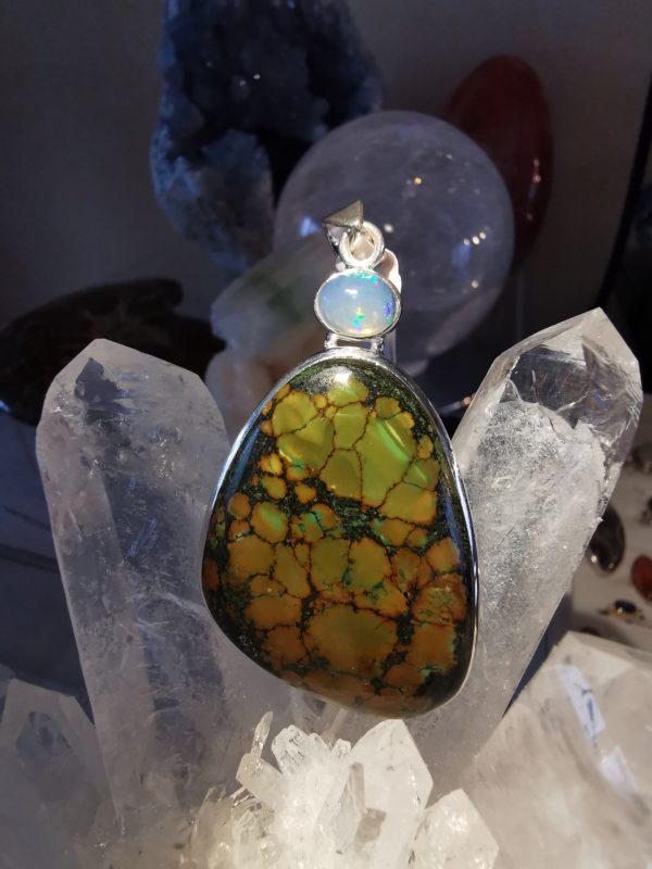 Opale Welo et Turquoise du Tibet -pendentif