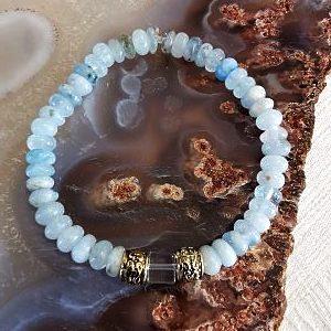 Aiguë-marine- cristal de roche bracelet
