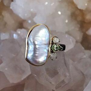 Perle d'eau douce Péridot et Cristal de roche bague