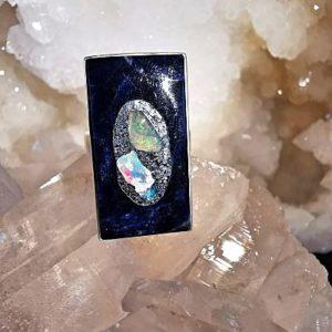 Sodalite et Opales- bague