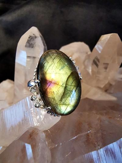 Labradorite et cristal de roche bague