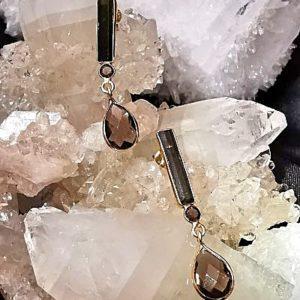 Moldavite et quartz fumé boucles en argent