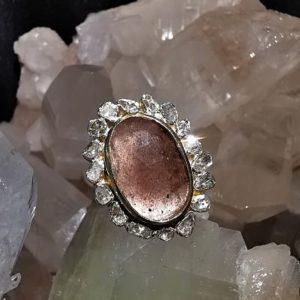 Quartz fraise et diamants naturels bague argent