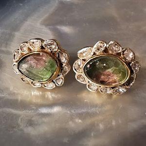 Tourmalines melon d eau et diamants naturels boucles en argent
