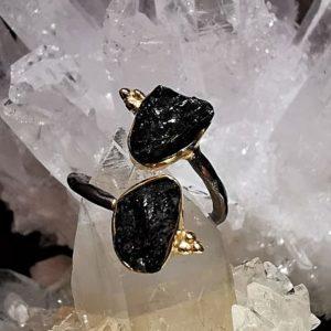 Tourmalines noire bague en argent noir