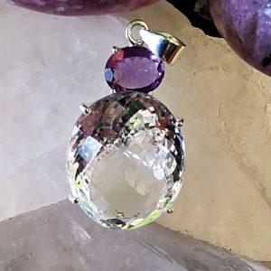Cristal de roche et améthyste pendentif