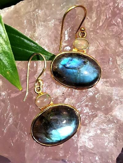 Labradorites et opales welo boucles pendentifs