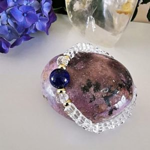Lapis-Lazuli et cristal de roche bracelet création