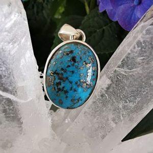 Turquoise d'Iran pyrisée pendentif