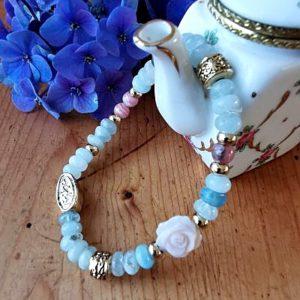 Aigue marine - nacre et rhodochrosite - bracelets