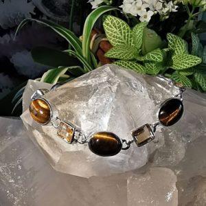Bracelet en œil de tigre et citrine en argent