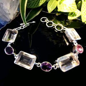 Cristal de roche et améthystes bracelet en argent