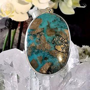 Turquoise pyrisée d'Iran pendentif argent