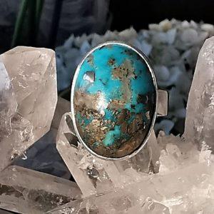 Turquoise pyrisée bague en argent